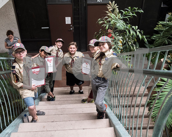 """June 17, 2017 - Cub Scout Pack 342 WEBELOS 2 Den a.k.a. The Cupcakes met with California Senator Joel Anderson completing one of their requirements for the Arrow of Light Adventure, """"Building A Better World"""" at Senator Anderson's office in El Cajon, California."""