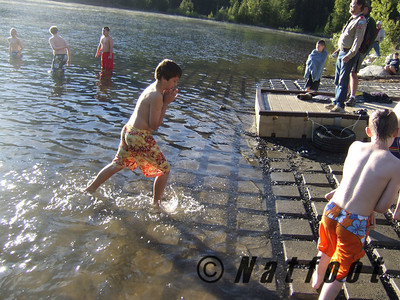 Kyle Jones exits the water as he is the only Polar Bear from our Troop
