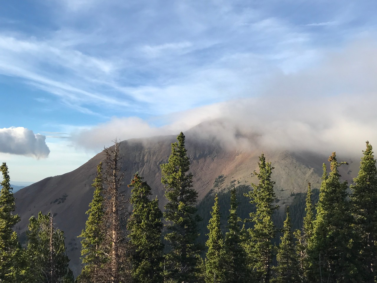 Baldy shrouded in fast-moving clouds