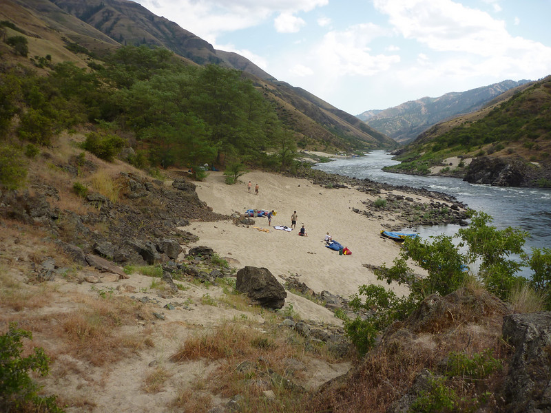 River Rafting along the Salmon River in Idaho.  The GPS location of this photo is not exact.  The river is correct, the exact beach location is not.