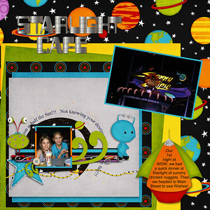 Fly Me to The Moon kit- Just So Scrappy Fly Me to the Moon QP- shrunk down and used to top the paperstack on left lower corner.