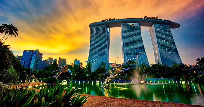 Sun going down on Marina Bay Sands