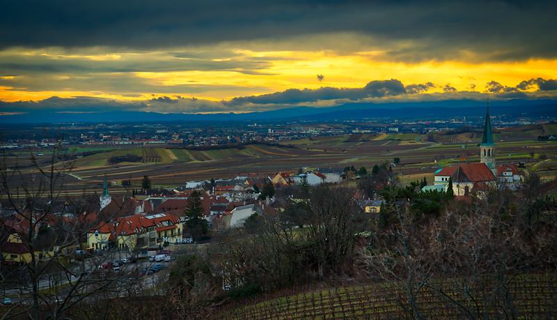 Gumpoldskirchen winter sunset