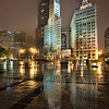 Reflexion on the ground on a rainy Chicago night