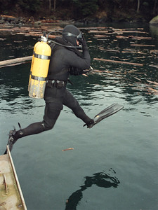 Combat Diver from 1CER Edmonton jumps off the jetty at Wirl Bay  during Rougish Buoy Exercise