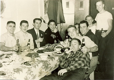 Christmas 1952The year someone stole the turkeys and they had to eat fried Bologna for Xmas Dinner. Bill Lawrence, Ted Gaffney (stoker), Duff, Ted Davis (Stoker), Davis (Newf), Skinner, Ennis S (Cook), Pierre Belley (Stoker), Brian Dillistone, Rod Petty