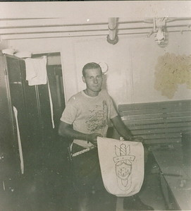 """Stan Stephensonwith crest submitted for """"Mine Clearance Diver"""" (MCD) 1954 on the Mess Deck of Gate Vessel #1. Turned Down..."""