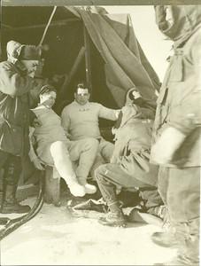 Lake Winnipeg, December 1955T-33 Jet Aircraft RecoveryL to R: Rocky Verscheure, Bobby Thompson (dressing), Ed Dalton (Dressing)