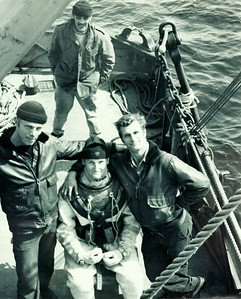 Tracker Recovery off Sheet Harbour in 1971On deck after engine recovery, note Leo's grinJim Larder, Leo Gaunol, John ChaputDiver: Bruce Martin