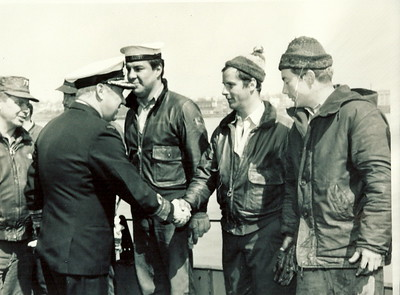 "Oil Tanker SS ARROW Oil Recovery Job 1970Admiral J.C. ""Scruffy O'Brien"" Congratulates Divers"