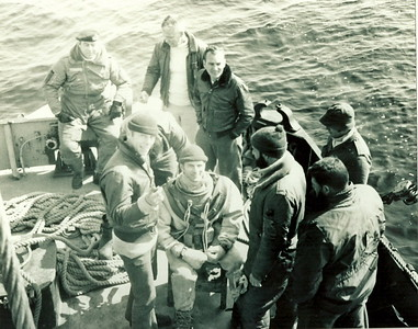 "Tracker Recovery off Sheet Harbour in 1971Top Left: Buck Rogers, John ""Dinger"" Bell, Ivan Cripps, ?, Gill Lariviere, Doug Ross, Jim LarderDiver: John Chaput"