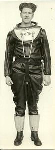 Heinke Lightweight Diving GearShows flange of dress collar in place over corselet ring ready to accept helmet.