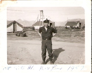 photo taken up at the DEW Line Base on Baffin Island in 1957, Patrick was wearing the dungaree working dress and was a P1(Petty Officer 1st Class), as can be seen by the P1 cap badge he wore.