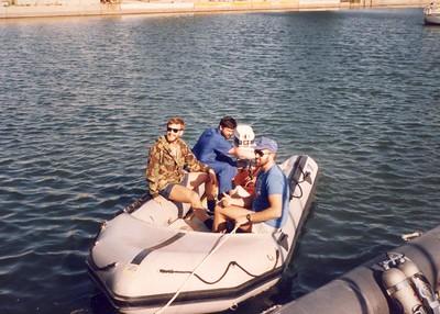 The boys enjoying a boat ride