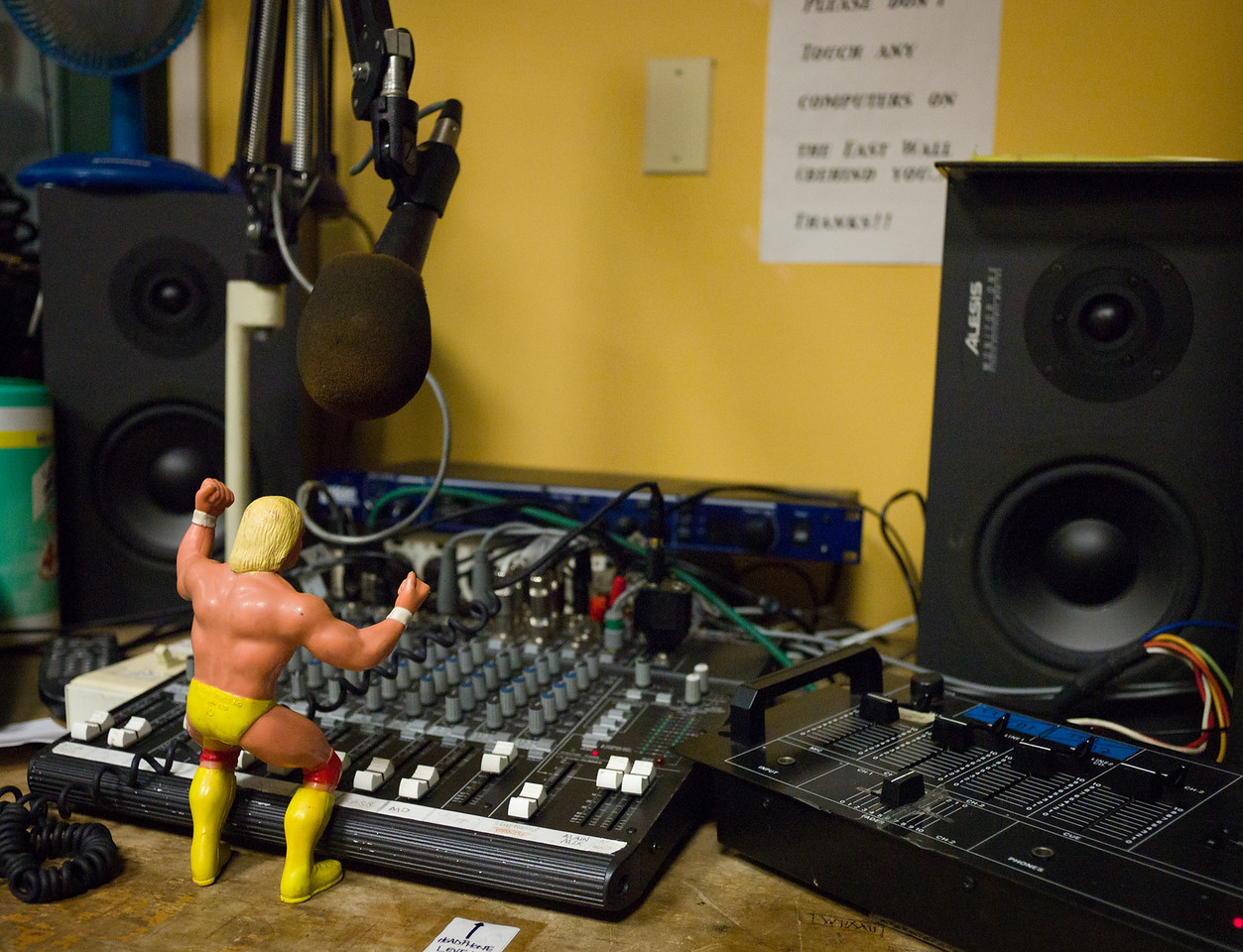 Mr. Hogan does his radio show from Studio C, the littlest studio at WFMU.
