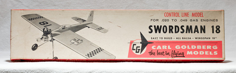 "Original box: ""Swordsman 18"" control-line model plane.  Assembled plane and box are at Robillard."