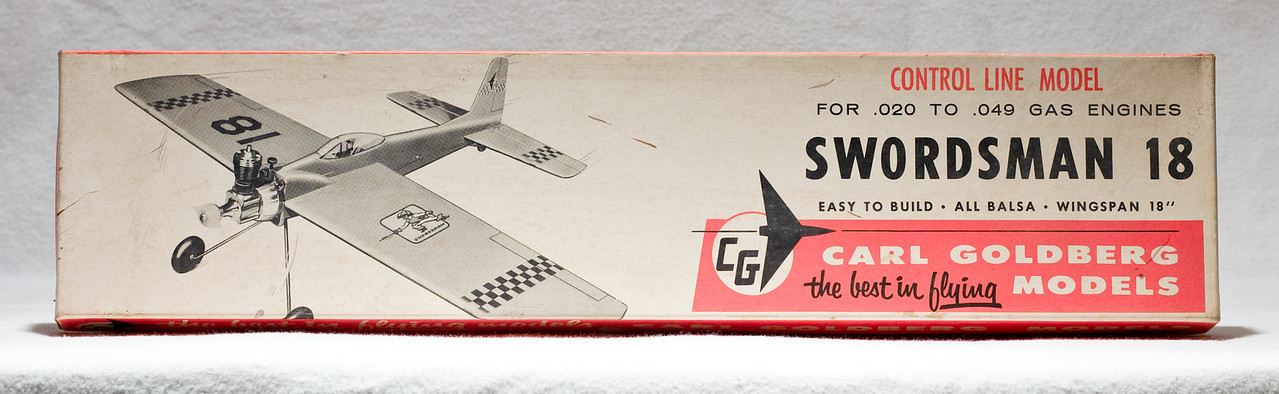 "Original box: ""Swordsman 18"" control-line model plane.  Assembled plane and box are at Robillard."