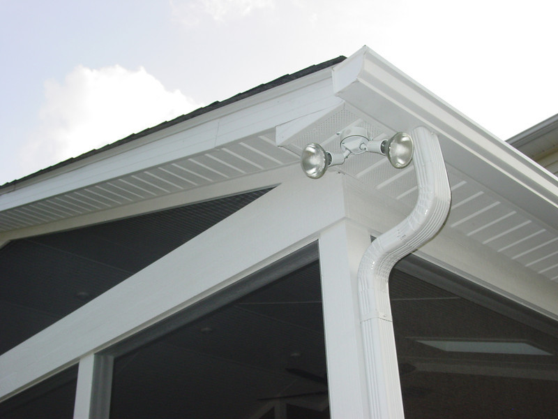"Spot lights on the corners can help light up the backyard..<br /> <br /> Notice we used 6"" gutters with 3 x 4 downspouts"
