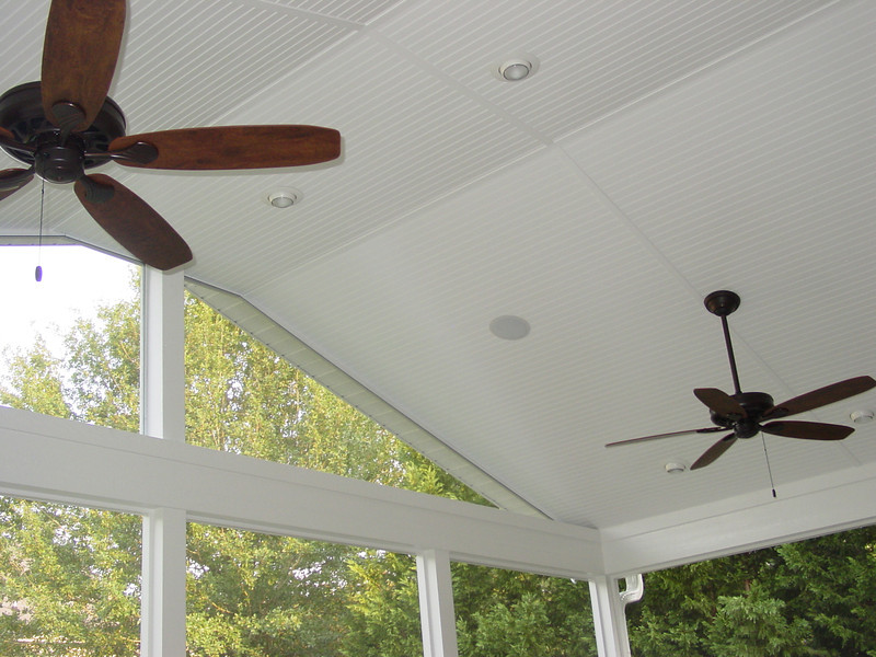Plywood Bead Board on the ceiling