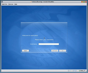 Indiana Login Screen  OpenSolaris Developer Preview 2 all installed and rebooted.  This is the login screen you get.