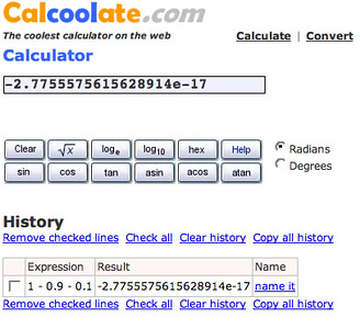 Calcoolate Can't Subtract  Looks like Calcoolate has the same problem as Google used to have, and Calcr still has.