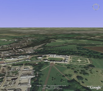 Windsor Castle  After quitting the flight simulator mode, you're still left in the simulator view, so you can move around at your leisure.  Here's Windsor Castle.