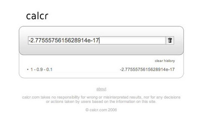 Calcr Can't Subtract  Looks like Calcr suffers from the same inability to do basic subtraction as Google used to.