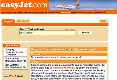 """Oldies Filed Under """"Livestock""""  I had to capture this for prosterity.  easyJet currently categorize queries about elderly people under"""
