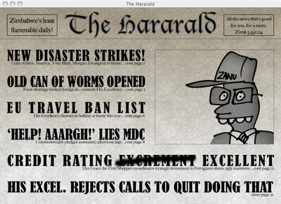 The Hararald  The menu of the Simbabwe game cleverly disguised as a newspaper.