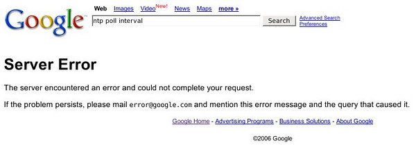 Google Error Screenshot  Hmmm, looks like Google's server farms encounter the odd error or two.  This is the first error I've seen on Google's search page. (I've seen loads on the