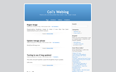 Col's Weblog v2 - In the Beginning  Moved to Wordpress on rev 2 of my site.  Also moved to www.colinseymour.co.uk as the primary domain.