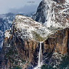 """Bridalveil Falls and Cathedral Spires"""