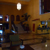 Hotel lobby and marble staircase to dinner restaurant.