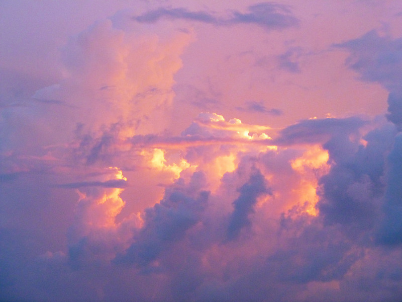 Thunderhead clouds at sunset.