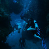 Back under water, descending through the canyons of Punta Tunich.