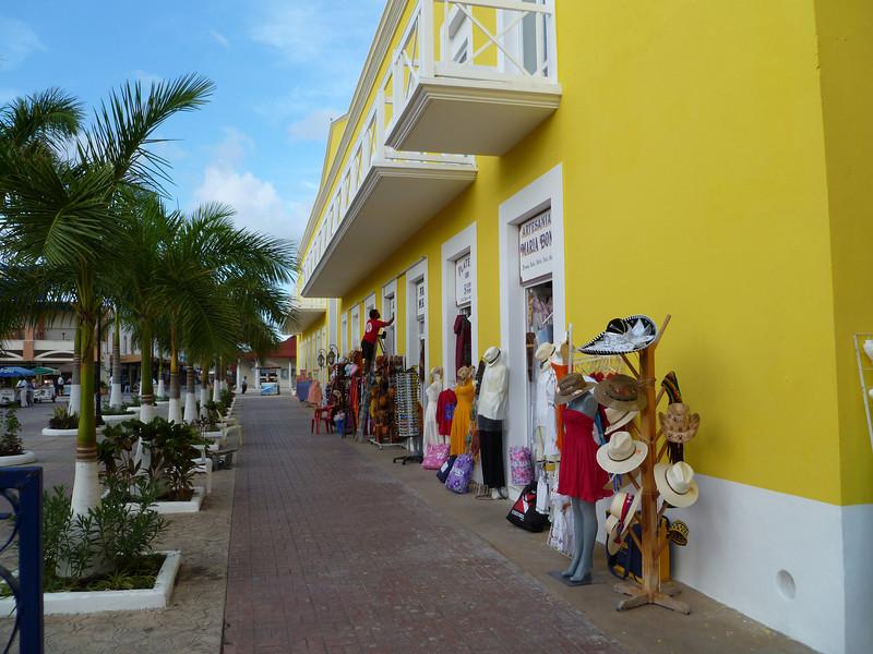 Shops along the plaza.