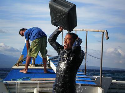 Onboard freshwater shower.