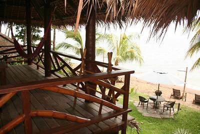 Balcony rooms overlook the beach.