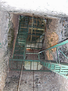 Stairs up to bell tower - bats, guano and all.