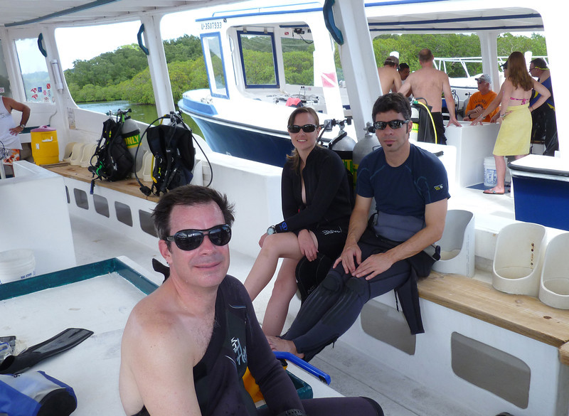 Pat, Nat and Pierre-Luc waiting to leave for the dive site.