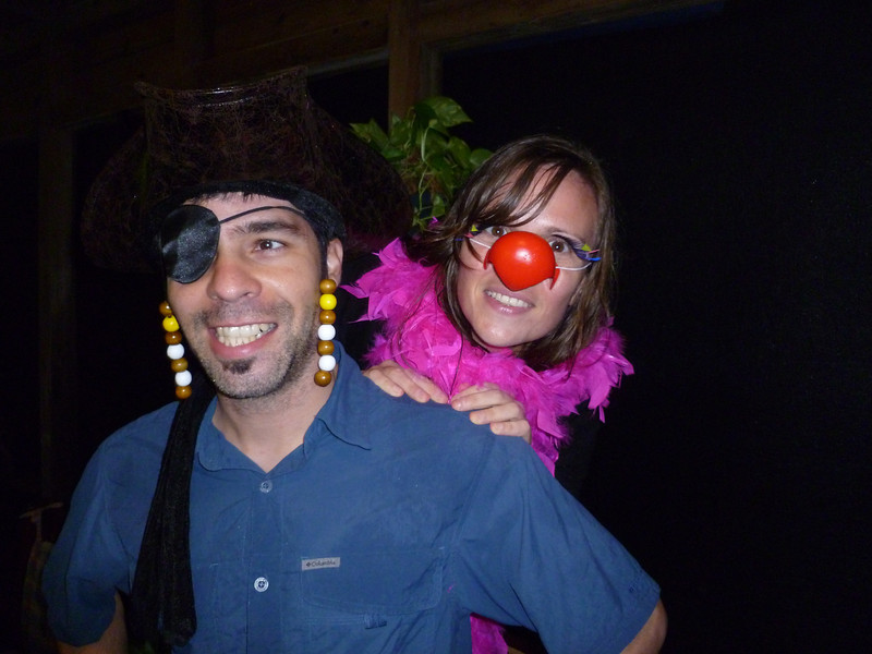 Pirate Pierre-Luc and his pretty polly parrot, Nathalie.