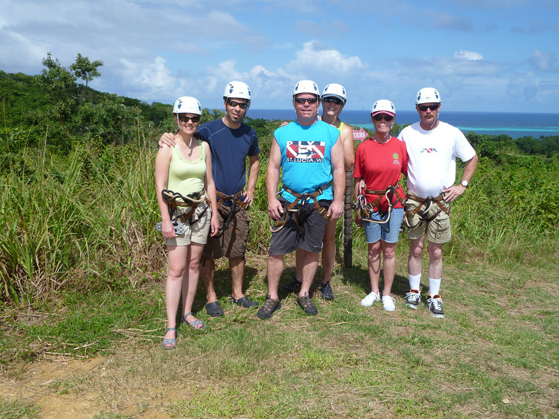Ready to zip - Nathalie, Pierre-Luc, Craig, me, Carroll (on her birthday!) and Brian