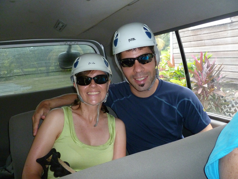 Nat and Pierre-Luc in the van on the way to the top.