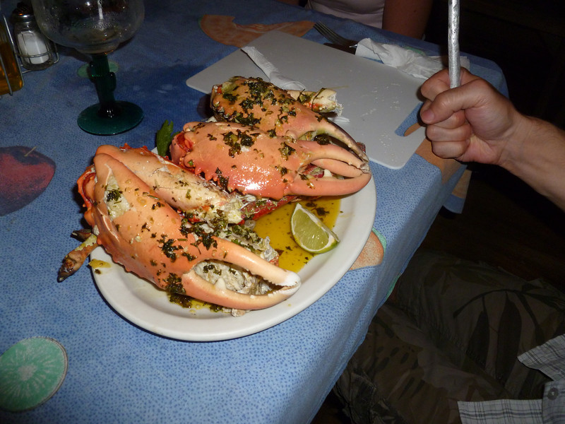 Pierre-Luc ordered the GIANT crab, complete with cutting board and metal hammer. Those were some hard shells!