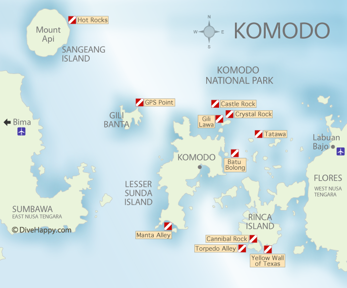 Divehappy Komodo Dive Sites map