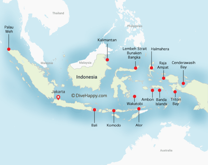 Indonesia Diving Map showing location of Triton Bay