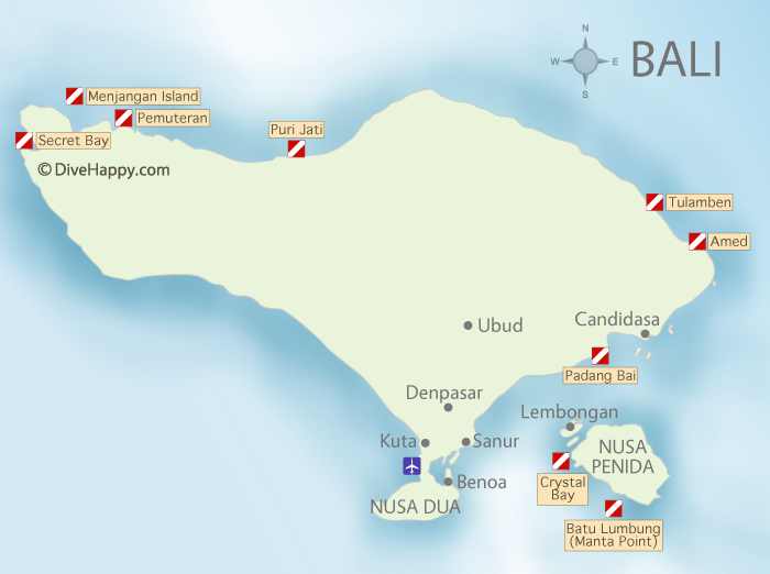 Divehappy Bali Diving map