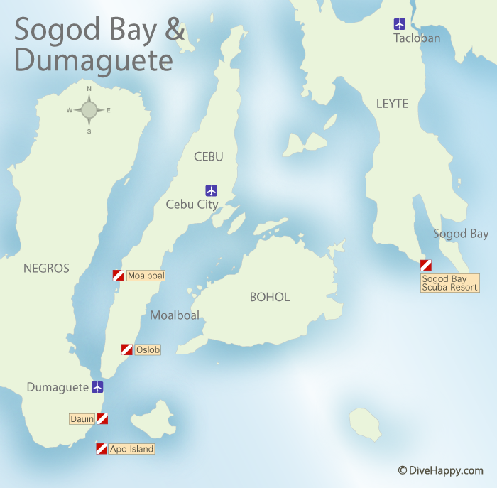 Dumaguete and Sogod Bay Map