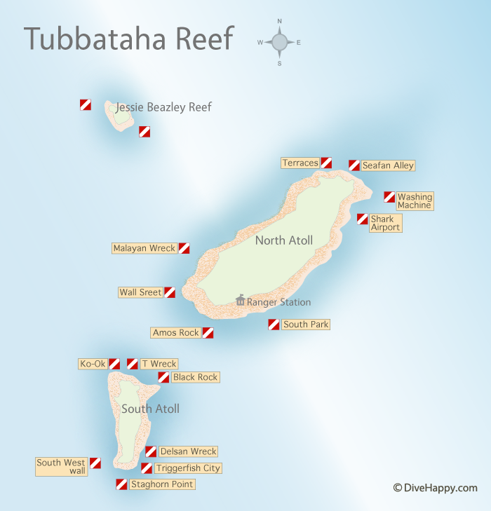 Tubbataha Reef dive site map