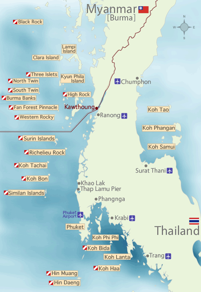 Myanmar and Thailand Dive Sites Map